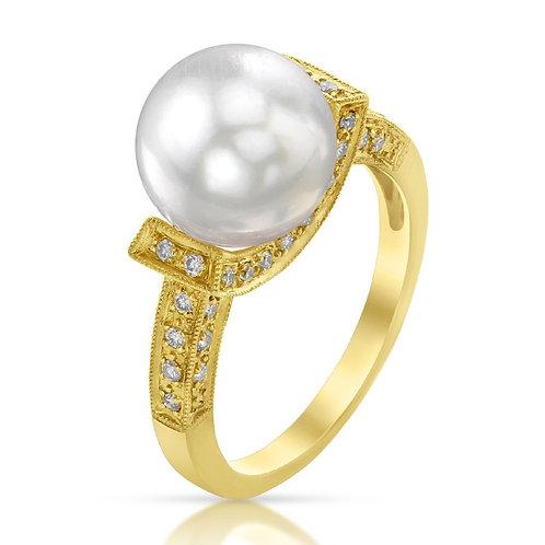 Bague en perle d'Australie et diamants - Or 18k