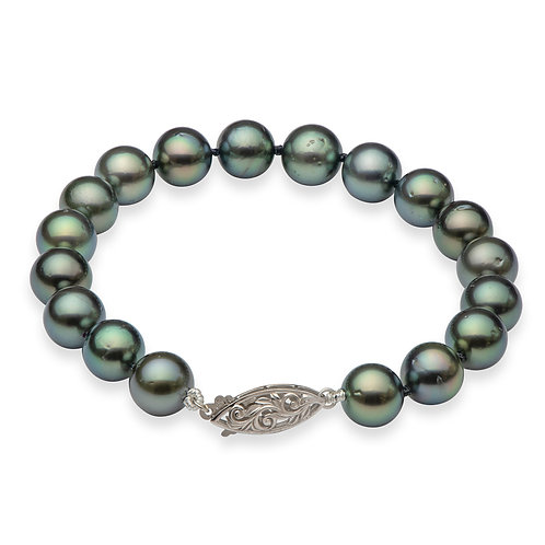Bracelet perles de Tahiti noires (8-9 mm)