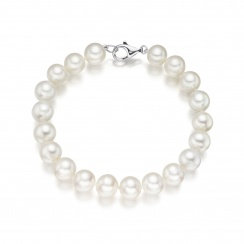 Bracelet perles d'eau douce blanches (7-8 mm)