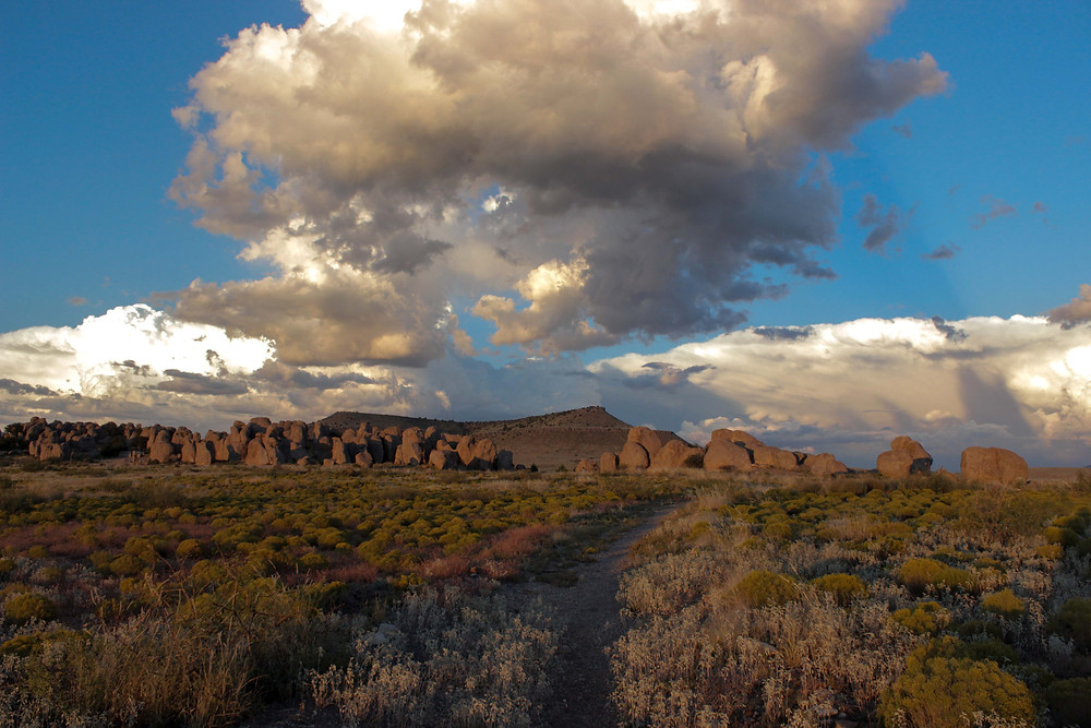 new mexico, city of rocks, clouds