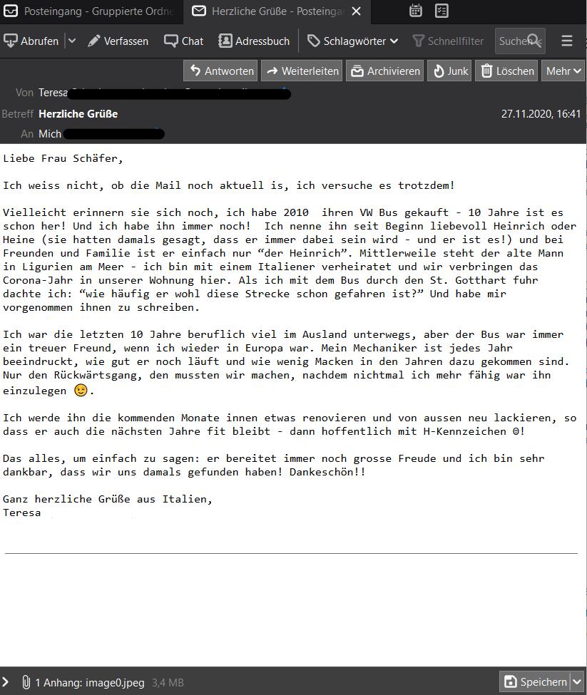Email mit herzlichen Grüßen von Teresa