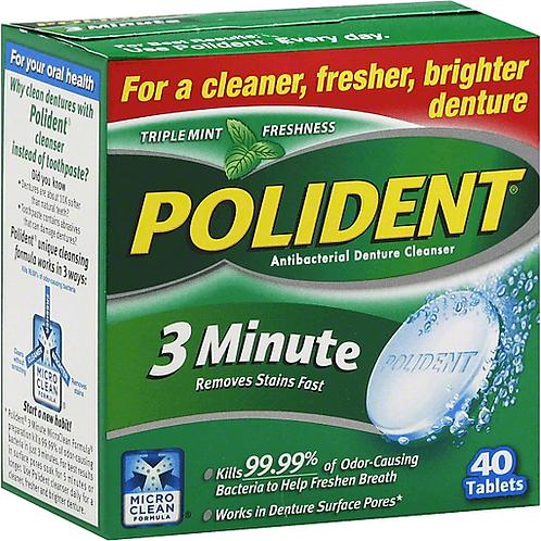 POLIDENT DENTURE CLEANER 40TAB