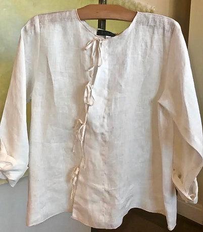 L301 ribbon side tie blouse