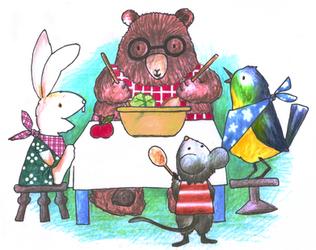 illustrations for kids bamboo tableware