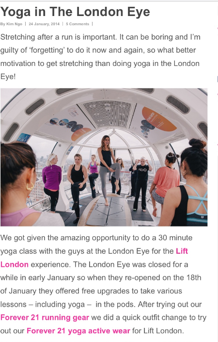 Lift London - Yoga in the London Eye