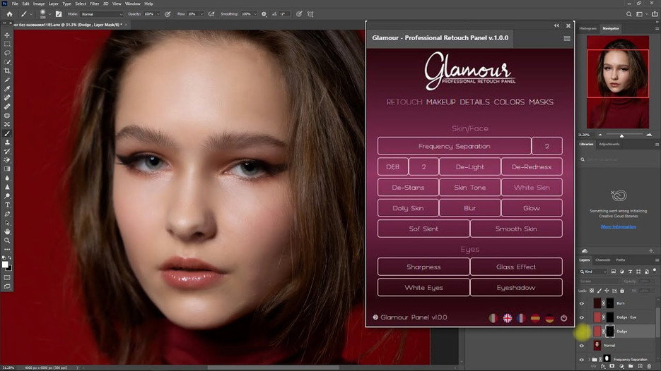 Glamour Retouch Panel | A Photoshop Extension Panel for Professionals