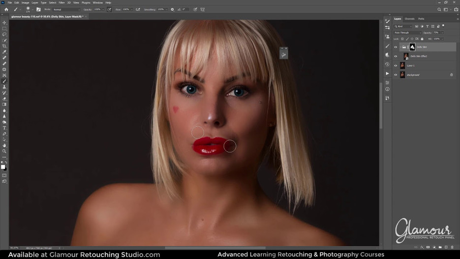 Dolly Skin Airbrushing Skin In Photoshop Using Glamour Professional Retouch Panel