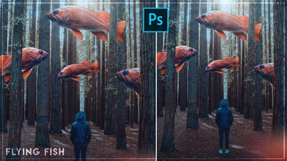 Fish In The Woods Photoshop Workflow