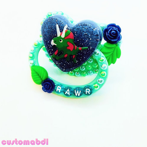 Rawr Dinosaur Heart - Green & Royal Blue