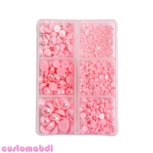 AB Flatback Pearls - 2mm-8mm - 1000 Pieces - Pink