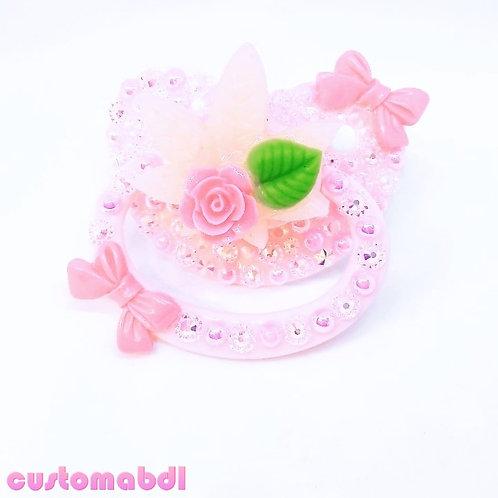 Rose Leaf w/Bows - Pink & Green