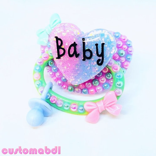Baby Heart w/Charm - Lavender, Mint Green, Pink & Baby Blue