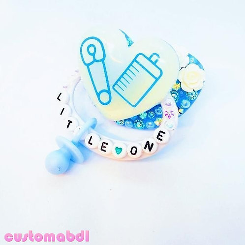 Little One Heart w/Charm - Baby Blue & White