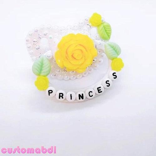 Vintage Princess Rose - White, Yellow & Green