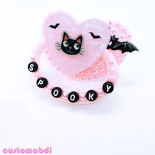 Spooky Kitten Heart - Pink & Black - Bats