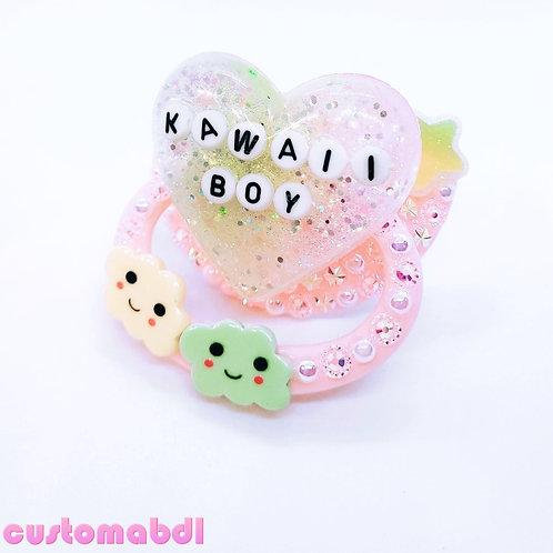 Kawaii Boy Heart & Clouds - Pink, Yellow & Green