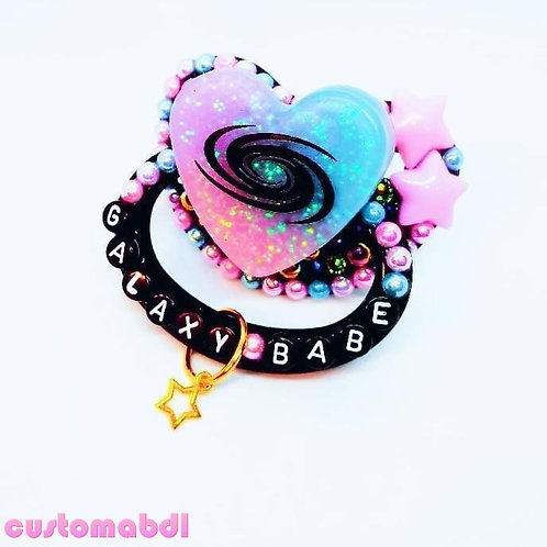 Galaxy Babe Swirl Heart w/Charm - Black, Pink, Baby Blue & Lavender - Space