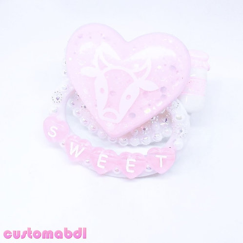 Sweet Moo Cow Heart - Milk - White & Pink