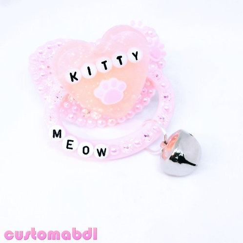 Kitty Heart Meow w/Bell Charm - Pink