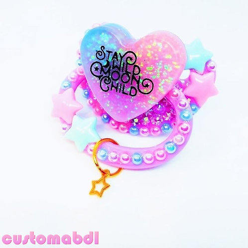 Stay Wild Moon Child Heart w/Charm - Lavender, Pink & Baby Blue - Space, Stars