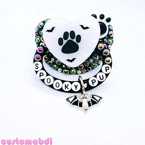 Spooky Pup w/Charm - Black & White - Dog, Paw, Bat
