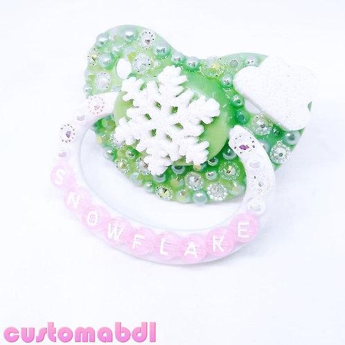 Snowflake - Mint Green, White & Pink