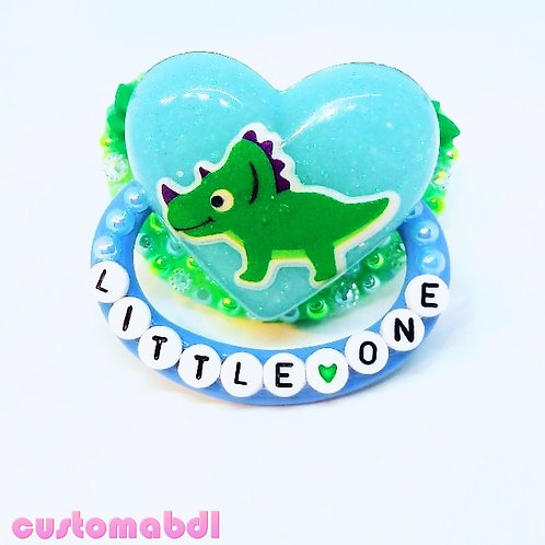 Little One - Triceratops - Dino - Baby Blue & Green (Imperfect See Description)