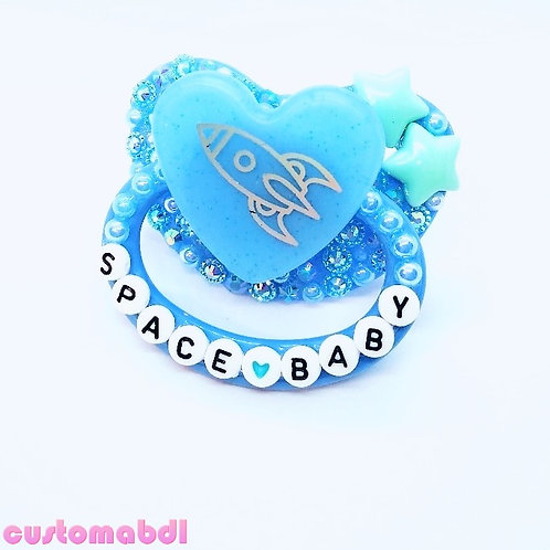 Space Baby Heart - Baby Blue - Stars