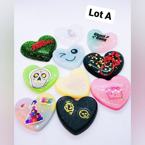 10 Piece Resin Hearts - Lot A