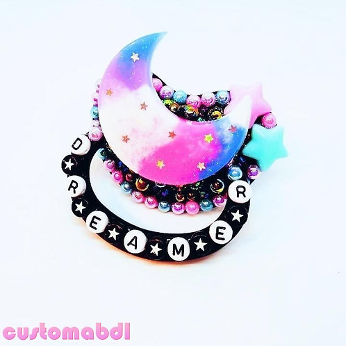 Dreamer Moon - Black, Pink, Lavender & Baby Blue - Stars - Space