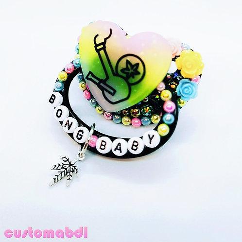 B Baby Leaf Heart w/Charm - Black, Pink, Yellow & Baby Blue