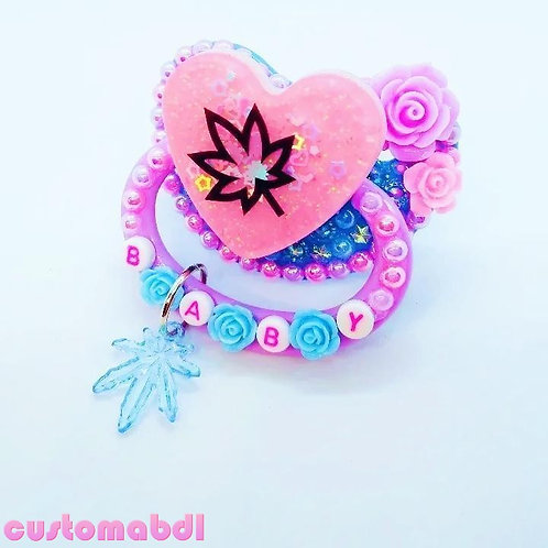 Baby Leaf Heart w/Charm - Baby Blue, Lavender & Pink