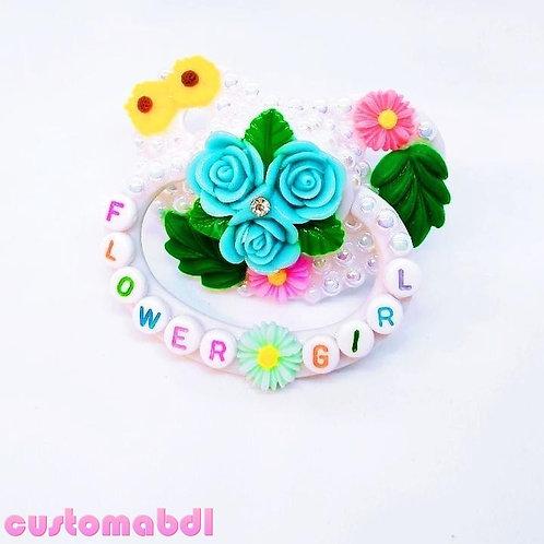 Flower Girl Bouquet - White & Baby Bue