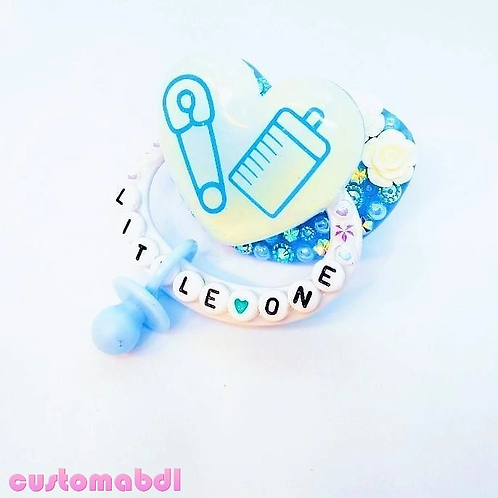 Little One Heart w/Charm - White & Baby Blue