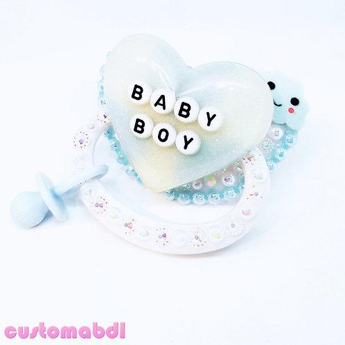 BB - White & Baby Blue w/Charm