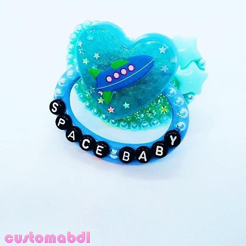 Space Baby Heart - Teal & Baby Blue - Stars, Rocket