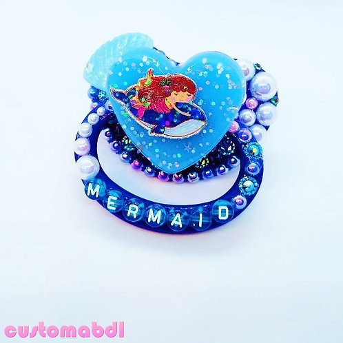 Mermaid Whale Heart Bubbles - Royal Blue, Baby Blue & White