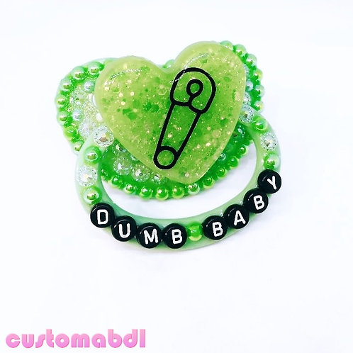 D Baby Heart - Safety Pin - Green & Black