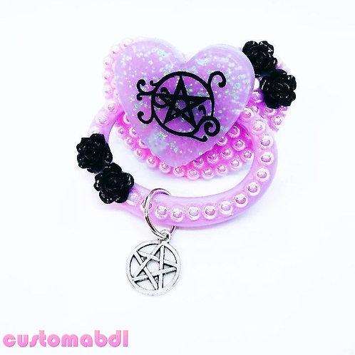 Pentagram Heart w/Charm - Lavender & Black