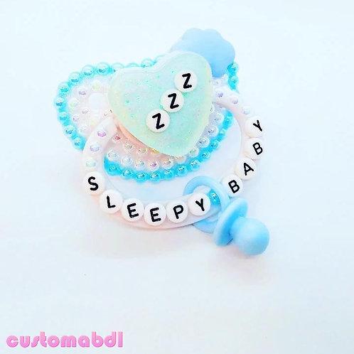 ZZZ Sleepy Baby Heart w/Charm - White & Baby Blue
