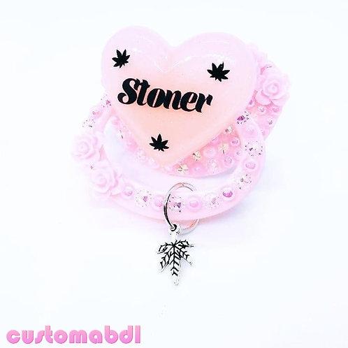 S Leaf Heart w/Charm - Pink
