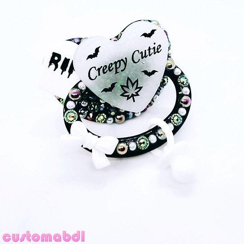 Creepy Cutie Leaf Heart w/Charm - Black & White - Spooky RIP Tombstone