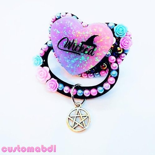 Wicked Heart w/Charm- Witch - Black, Pink, Lavender & Baby Blue