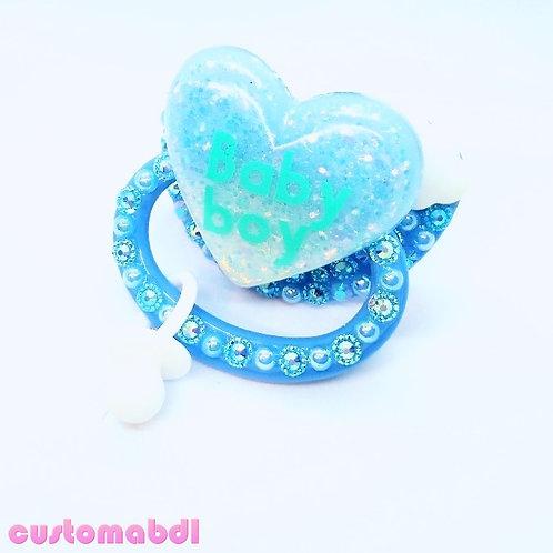 Baby Boy Cloud Heart w/Charm - Baby Blue & White