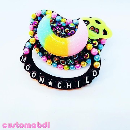 Moon Child - Black, Yellow, Pink, Baby Blue & Green - Space, Stars