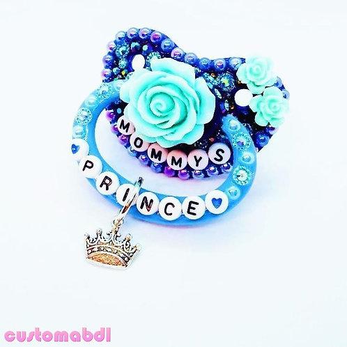 M's Prince Rose w/Charm - Royal Blue & Baby Blue - Flower