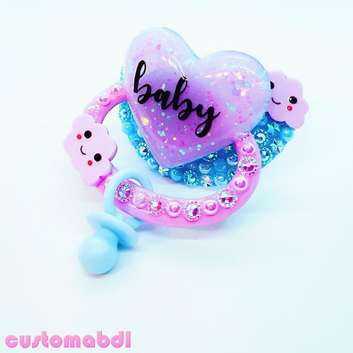Baby Heart w/Charm - Baby Blue & Lavender - Cloud