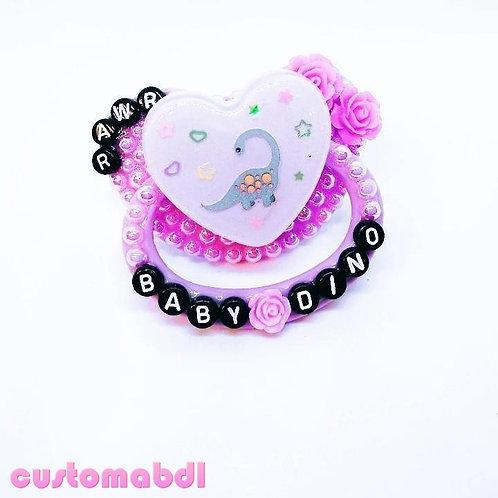 Baby Dino Rawr Heart - Lavender & Black