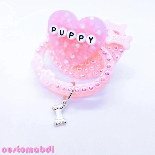Puppy Heart w/Charm - Pink - Paws, Dog Bones