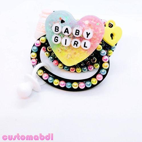 Baby Girl Heart w/Charm - Black, Pink, Yellow, Baby Blue & White - Milk, Lock